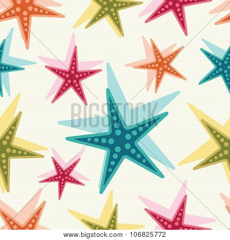 Sea stars. Vector background.