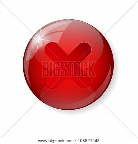 Red  Check Mark Icon Button Vector Illustration