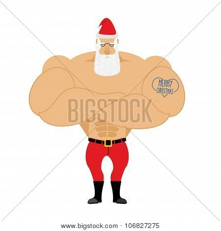 Strong Santa Claus. Santa With Big Muscles. Old Bodybuilder With Tattoo. Athlete Old Man In Red Shor