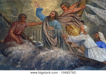 Jesus Calms a Storm on the Sea