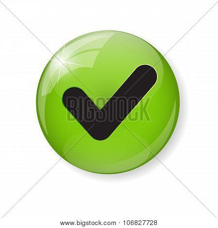 Green Check Mark Icon Button Vector Illustration