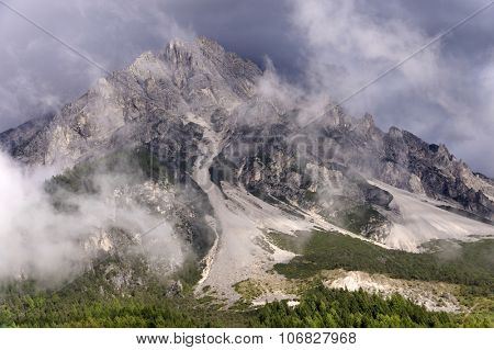 Stromy landscape in the Dolomites, Italy, Europe
