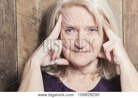 senior woman wood background