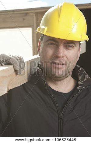 Two construction men working outside