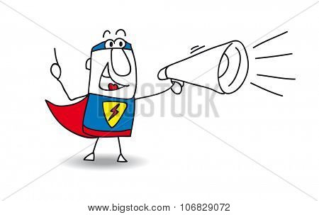 Super Hero with megaphone. A super hero is speaking  in a megaphone
