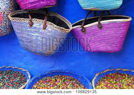 Dry rose buds on the market in Chefchaouen, Morocco, Africa