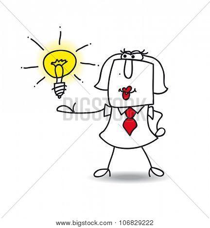 Karen presents an idea. Karen the businesswoman is very intelligent. She presents her idea