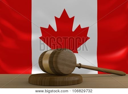Canada law and justice system with national flag