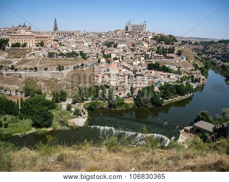 View Of Toledo From The Opposite Bank Of The River Tajo, Castilla La Mancha, Spain