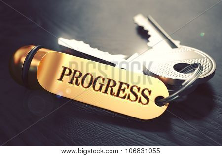 Progress - Bunch of Keys with Text on Golden Keychain.
