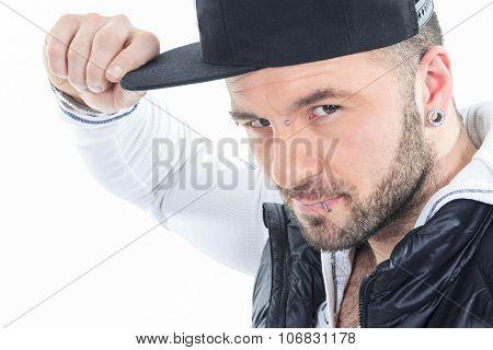 Urban man wearing baseball cap