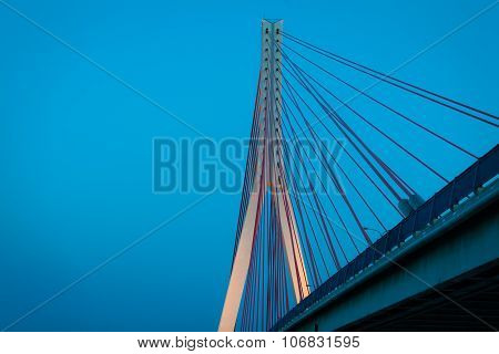 Suspension Bridge Over Wisla In Gdansk Poland.
