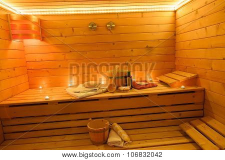 Sauna Interior in Candlelight