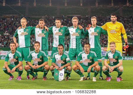 VIENNA, AUSTRIA - AUGUST 28, 2014: The team of SK Rapid poses before the Europa League qualifier against HJK Helsinki before an UEFA Europa League qualifying game.