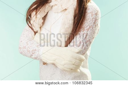 Closeup Fashion Woman In White Sweater And Gloves