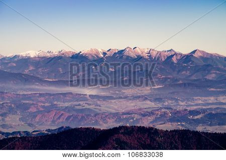 Scenic View Of Mountain Range In Autumn, Slovakia