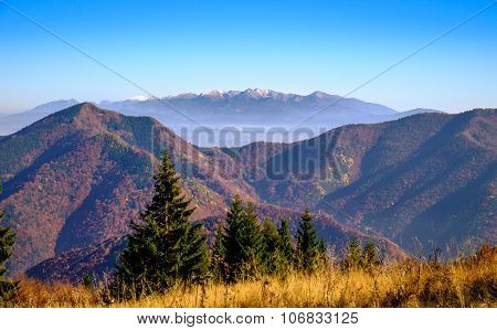 Landscape View Of Autumn Mountain Range, Slovakia