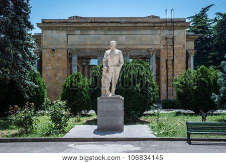 Gori, Georgia - July 21, 2015: Statue in front of Joseph Stalin Museum in Gori town