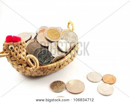 Save Money, Coins On Basket With Chicken Shape, Thai Baht