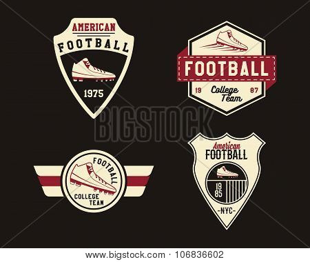 American football badge with cleats, sport logo, label, insignia set in retro color style. Graphic v