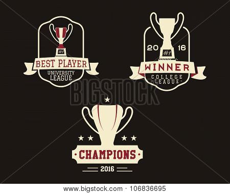 American football badge with winner cup, sport logo, champion label, insignia set in retro color sty