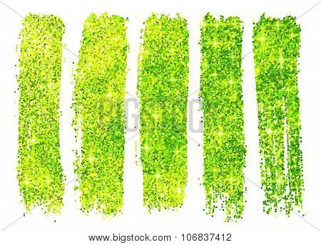 Green shining glitter polish samples isolated on white background
