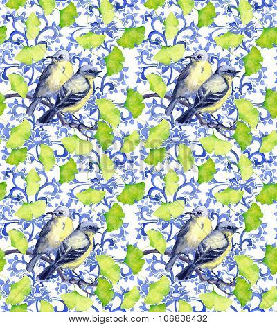 Birds and asian design. Seamless watercolor ornament pattern