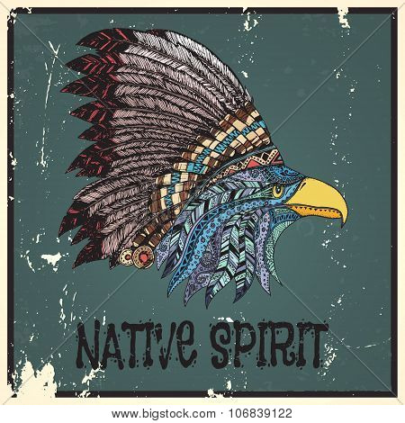Eagle in feathered tribal headdress.
