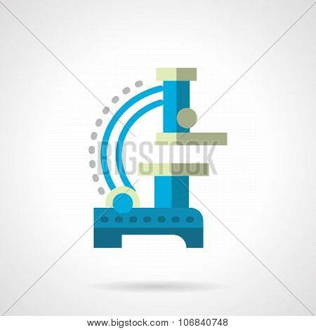 Blue microscope flat color vector icon