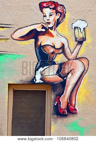 Mural barmaid