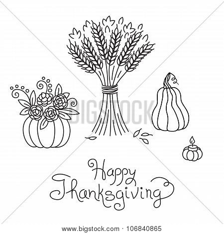 Doodle Thanksgiving Vintage Sheaf of Wheat and Pumpkin Freehand Vector Drawing Isolated