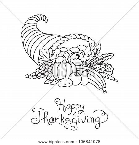 Doodle Thanksgiving Cornucopia Freehand Vector Drawing Isolated