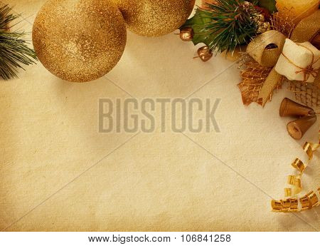 Vintage background with space for text or image and Christmas decoration.