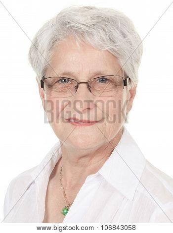 smiling retired senior woman