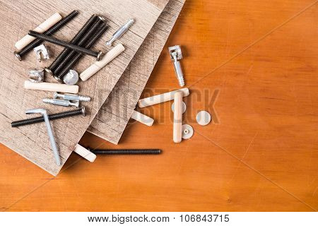 Hardware And Wood Planks For Furniture Assembly