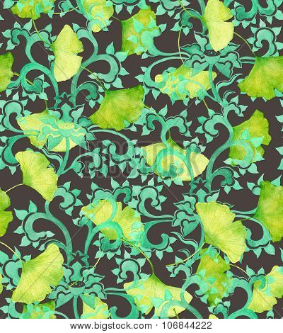 Chinese ornament and green gingko leaves. Seamless ornament
