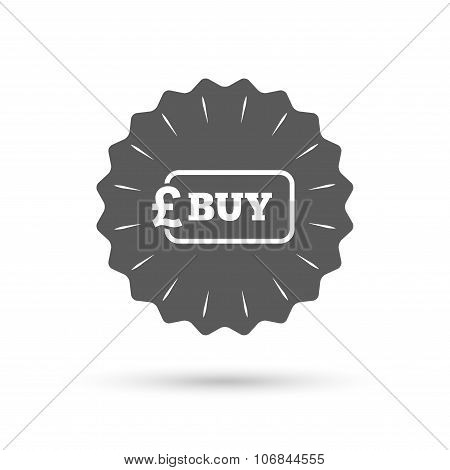 Buy sign icon. Online buying Pound button.