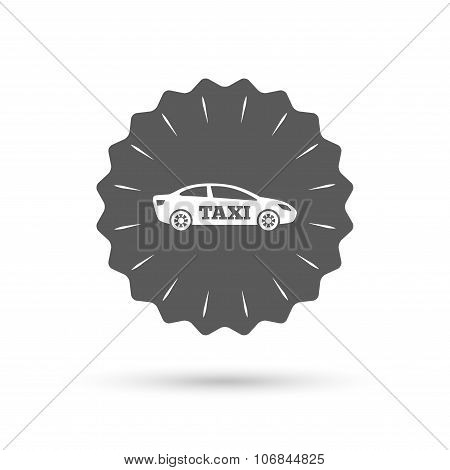 Taxi car sign icon. Sedan saloon symbol.
