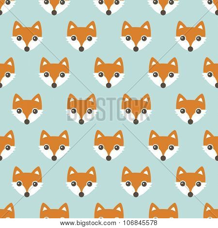 Seamless orange foxes cute kids woodland fox theme in pastel mint and orange illustration background pattern in vector