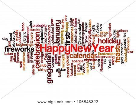 Word Cloud Of Happy New Year And Its Related Words