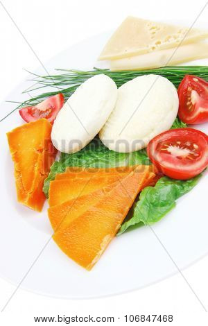aged cheese : parmesan roquefort and gruyere chops delicatessen cheeses and soft feta on plate isolated over white background