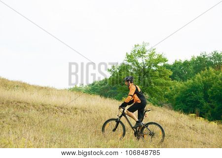Cyclist Riding the Bike Uphill on the Yellow Meadow Slope in the Beautiful Autumn Forest