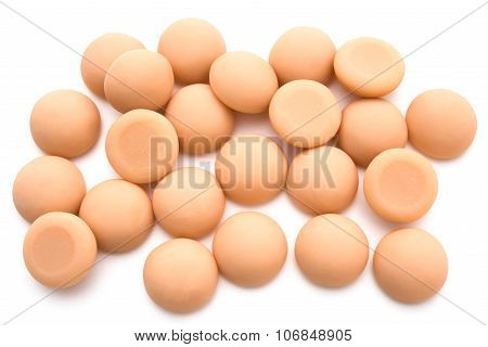 Top View Chewy Calcium Gum For Children On A White Background