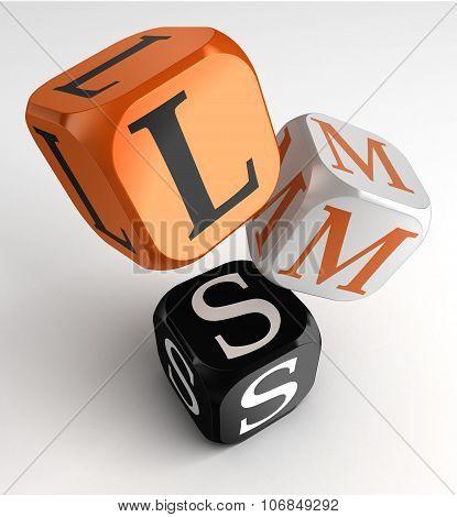 Lms Learning Management System Acronym Orange Black Dice Blocks