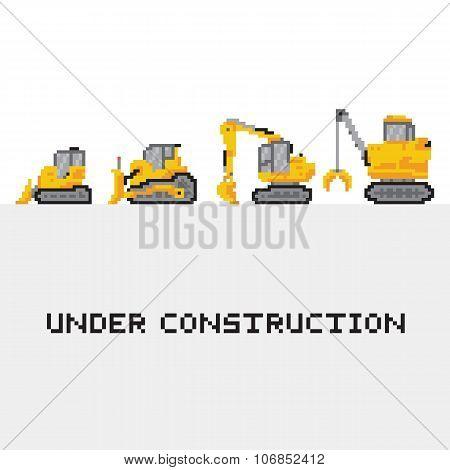 Under construction vehicles vector set in pixel art style 1