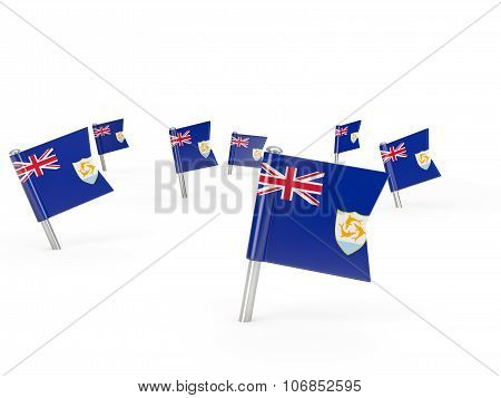 Square Pins With Flag Of Anguilla