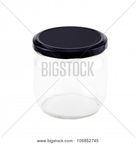 Glass Jar With Navy Cap On White Background