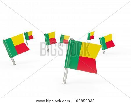 Square Pins With Flag Of Benin