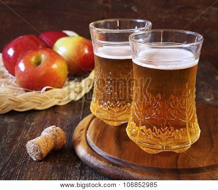 Apple Cider And Red Apples