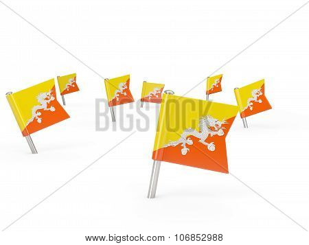 Square Pins With Flag Of Bhutan